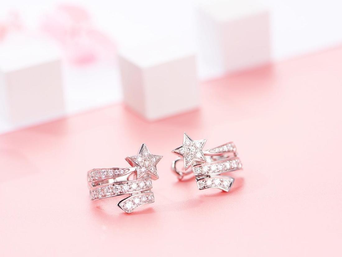 CHANEL COMETE 18K WHITE GOLD DIAMOND EARRINGS