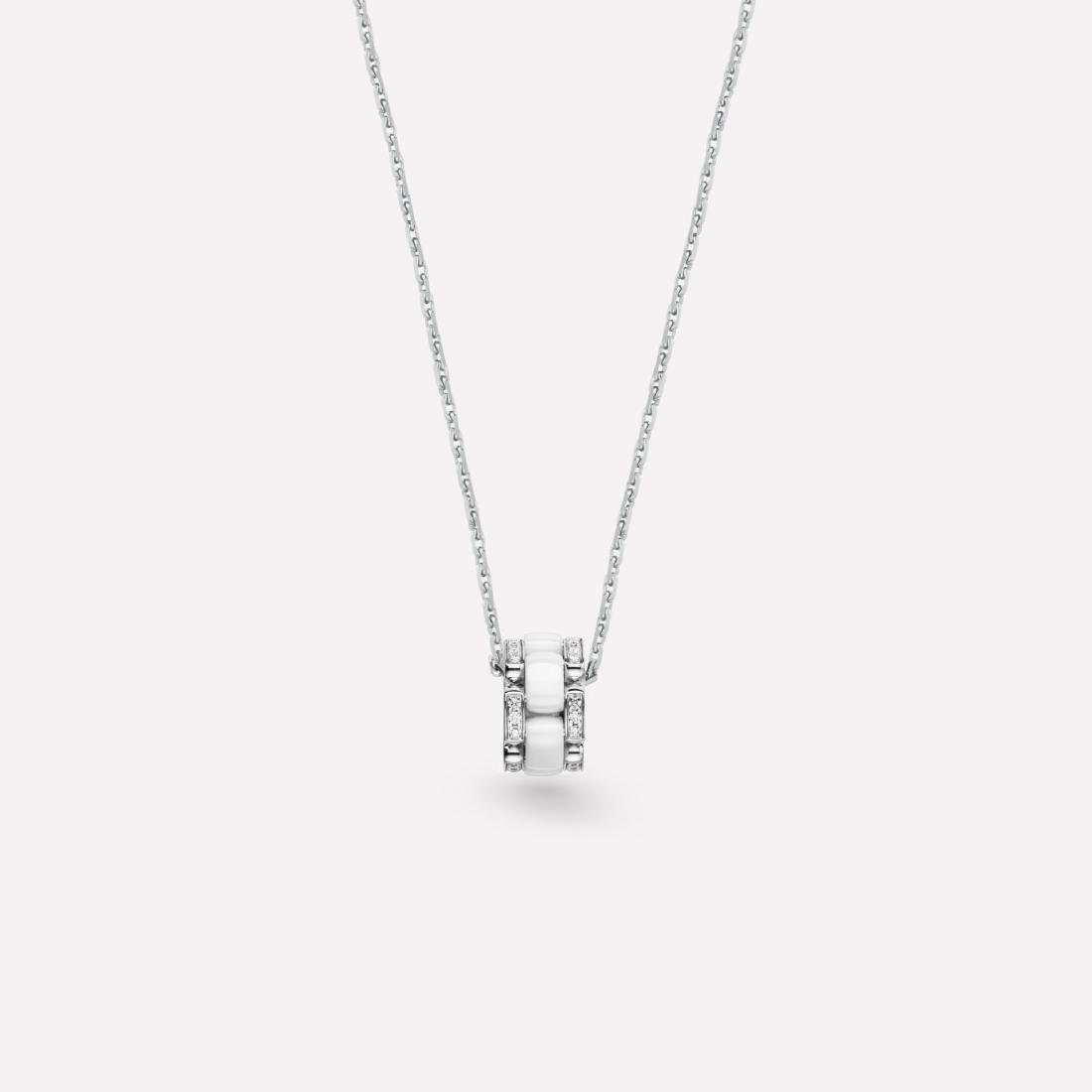 CHANEL 18K WHITE GOLD DIAMOND WHITE CERAMIC NECKLACE