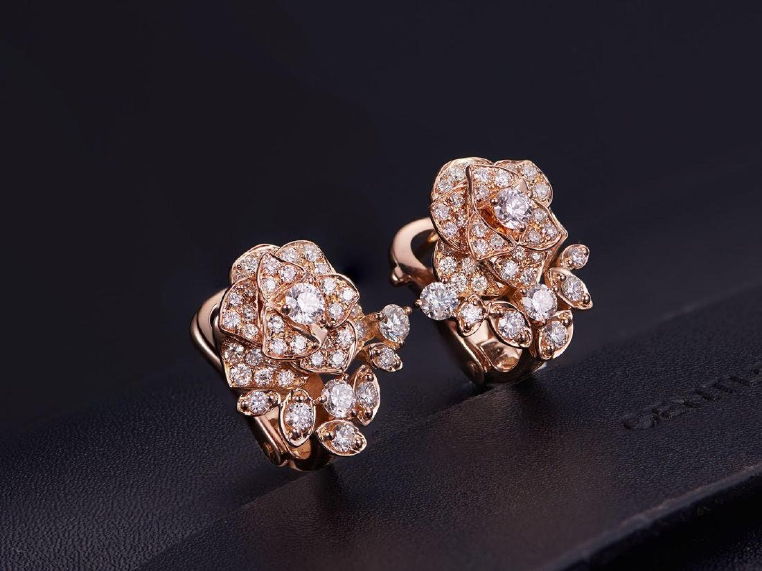 PIAGET 18K ROSE GOLD DIAMOND EARRINGS