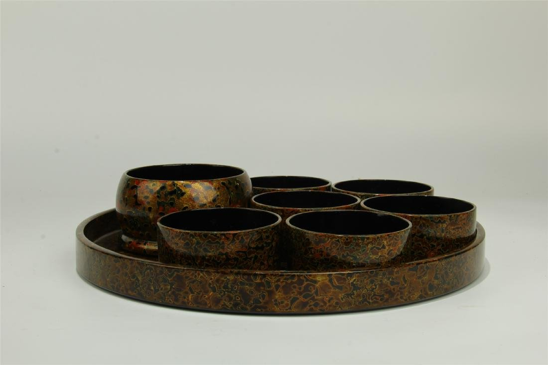 JAPANESE LACQUERED CUPS AND TRAY