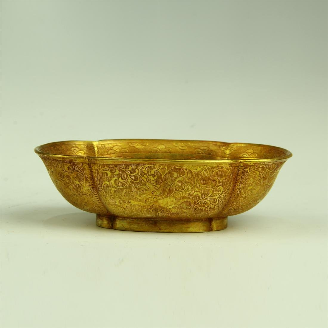 CHINESE GILT BRONZE BOWL