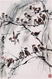 CHINESE SCROLL PAINTING OF SPARROWS ON TREE WITH