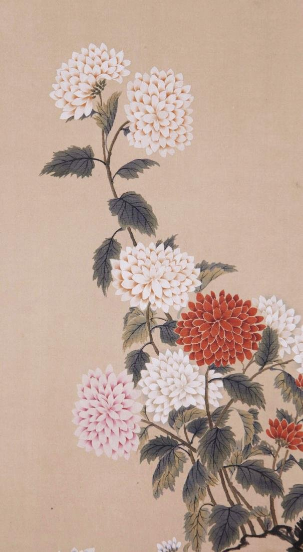 FOUR PANELS OF CHINESE SCROLL PAINTING OF BIRDS AND - 4