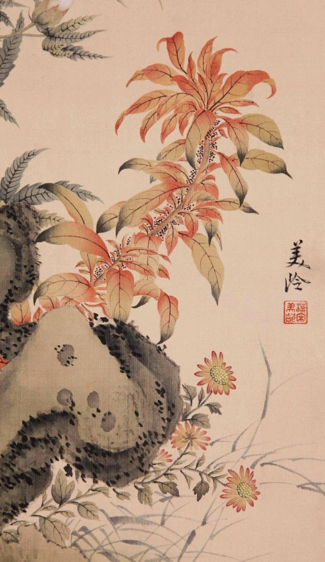 FOUR PANELS OF CHINESE SCROLL PAINTING OF BIRDS AND - 6