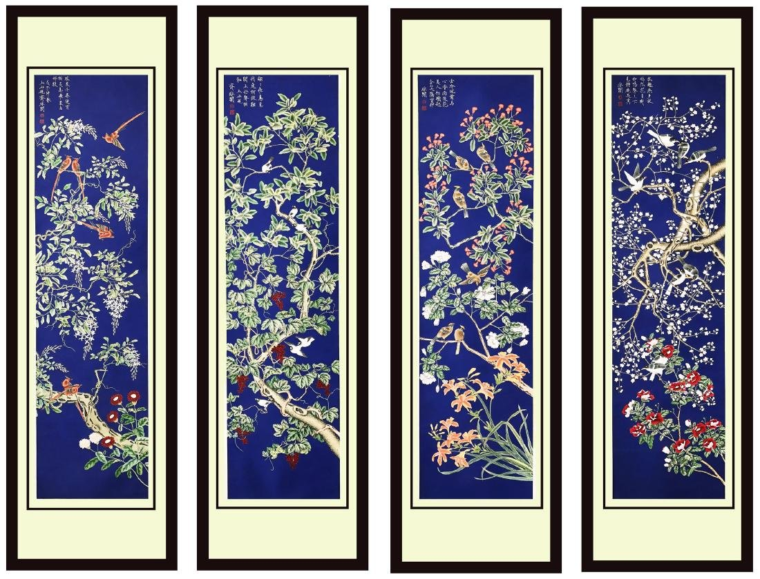 FOUR PANELS OF CHINESE SCROLL PAINTING OF FLOWER ON