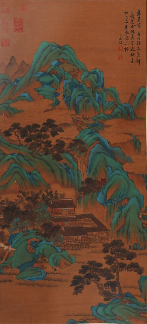 CHINESE SCROLL PAINTING OF MOUNTAIN VIEWS