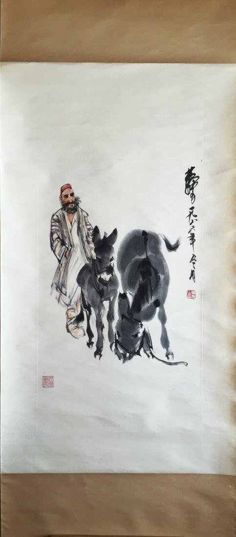 CHINESE SCROLL PAINTING OF MAN AND DONKEY