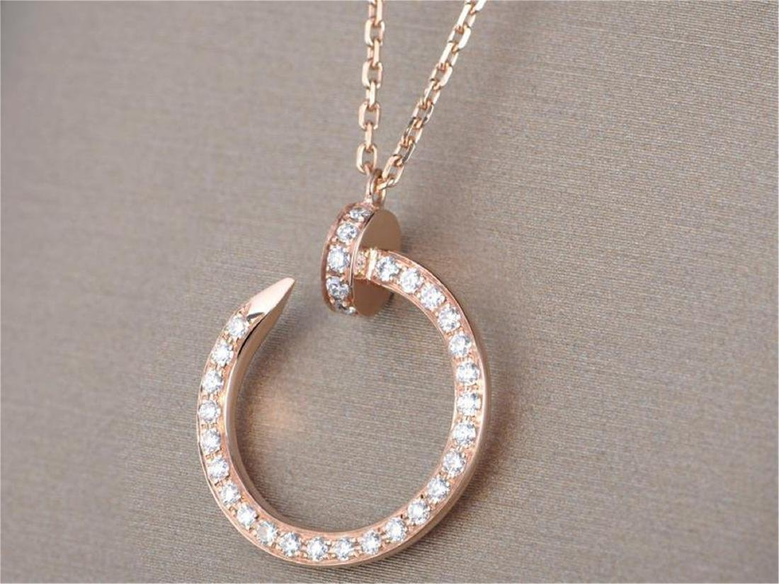 CARTIER STYLE 18K ROSE GOLD DIAMOND NAIL PENDANT