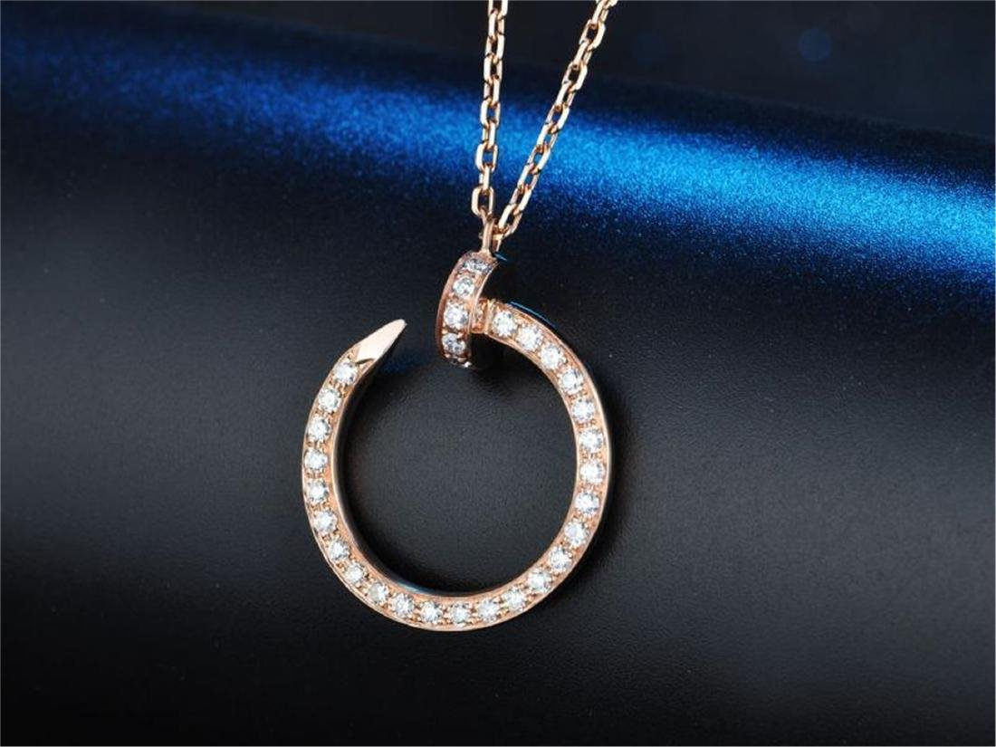 CARTIER STYLE 18K ROSE GOLD DIAMOND NAIL PENDANT - 2