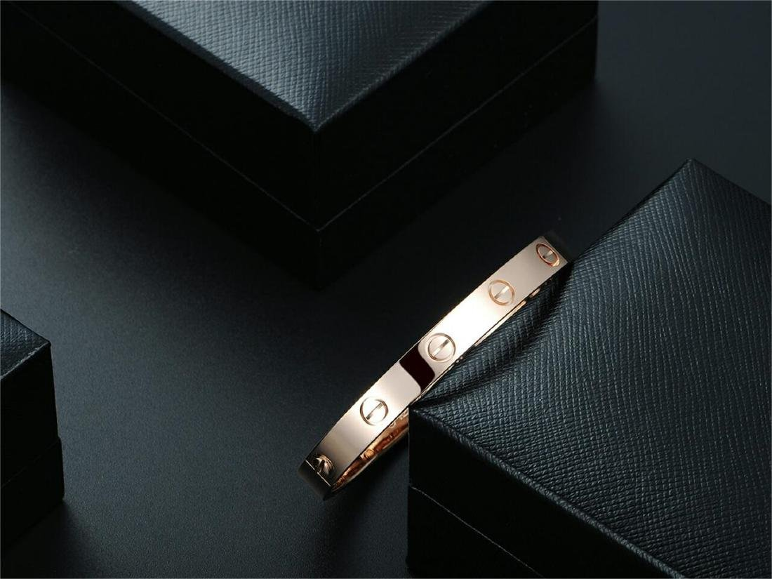 CARTIER STYLE 18K ROSE GOLD LOVE BRACELET - 3