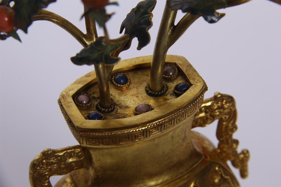 CHINESE GEM STONE BANSAI IN GILT BRONZE VASE - 10