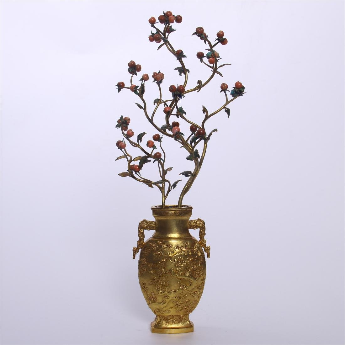 CHINESE GEM STONE BANSAI IN GILT BRONZE VASE