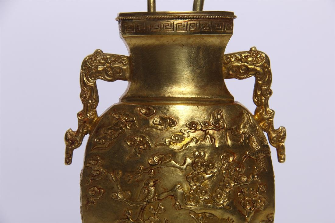 CHINESE GEM STONE BANSAI IN GILT BRONZE VASE - 2