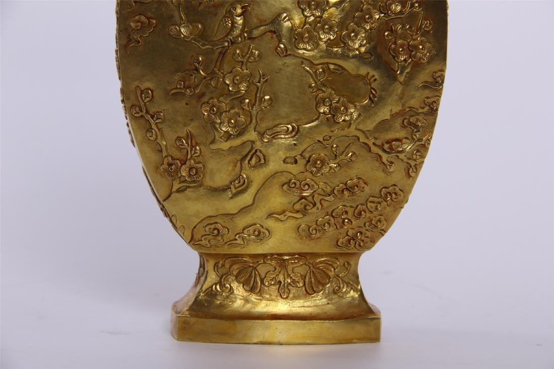 CHINESE GEM STONE BANSAI IN GILT BRONZE VASE - 3