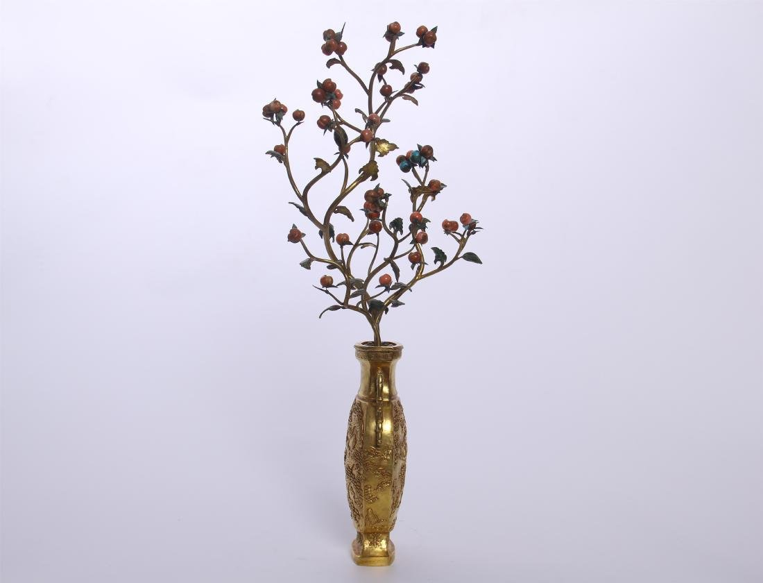 CHINESE GEM STONE BANSAI IN GILT BRONZE VASE - 4