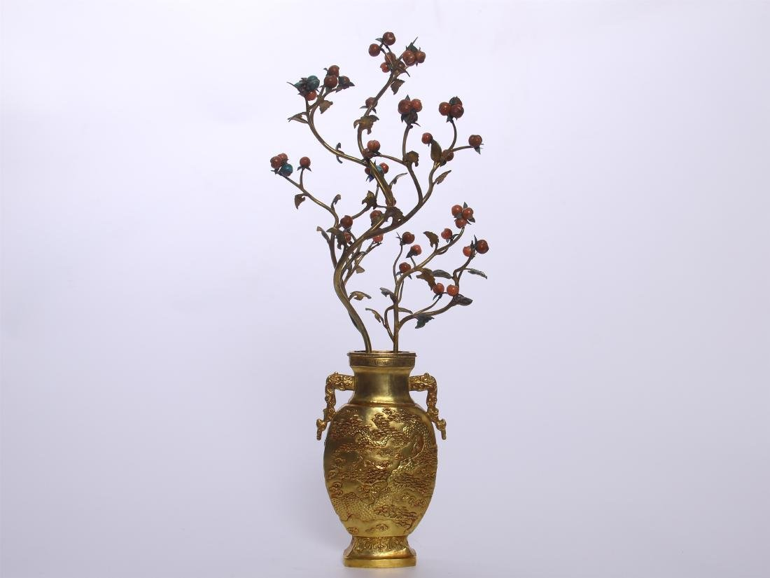 CHINESE GEM STONE BANSAI IN GILT BRONZE VASE - 6