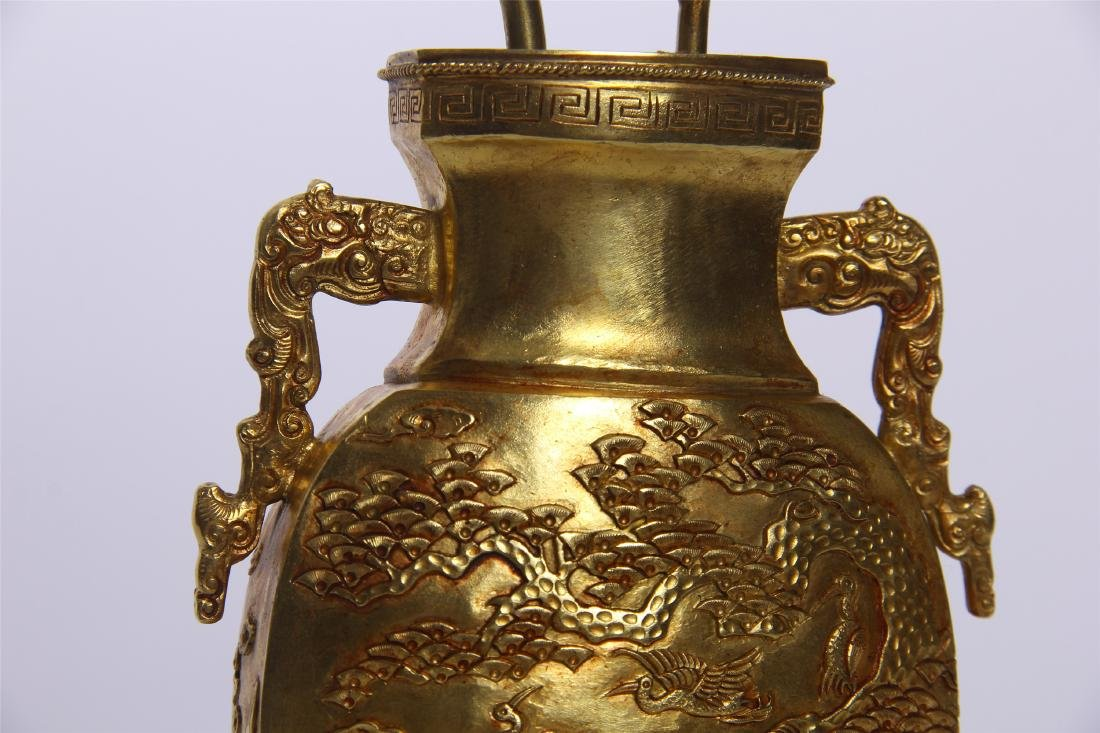 CHINESE GEM STONE BANSAI IN GILT BRONZE VASE - 7