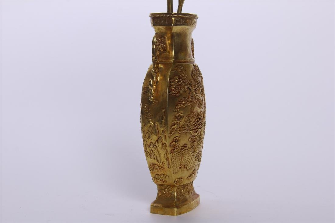 CHINESE GEM STONE BANSAI IN GILT BRONZE VASE - 8