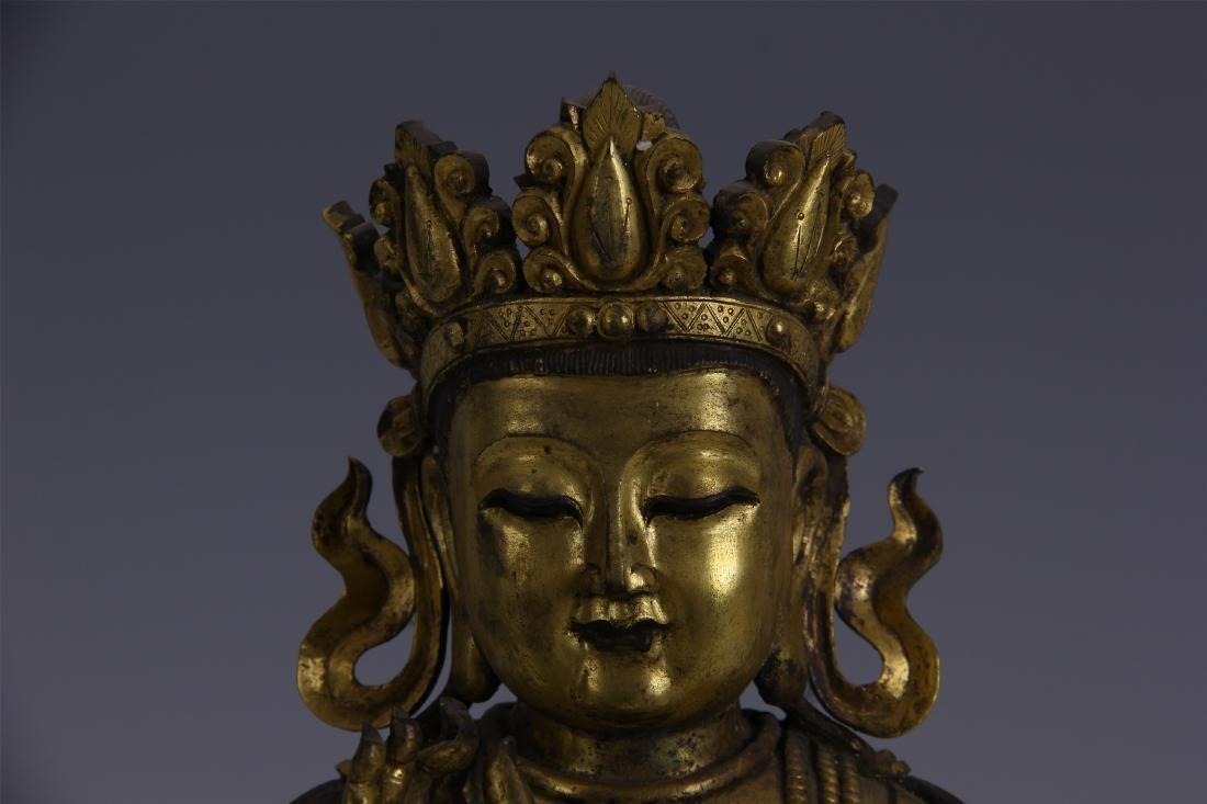 CHINESE GILT BRONZE SEATED BUDDHA - 2