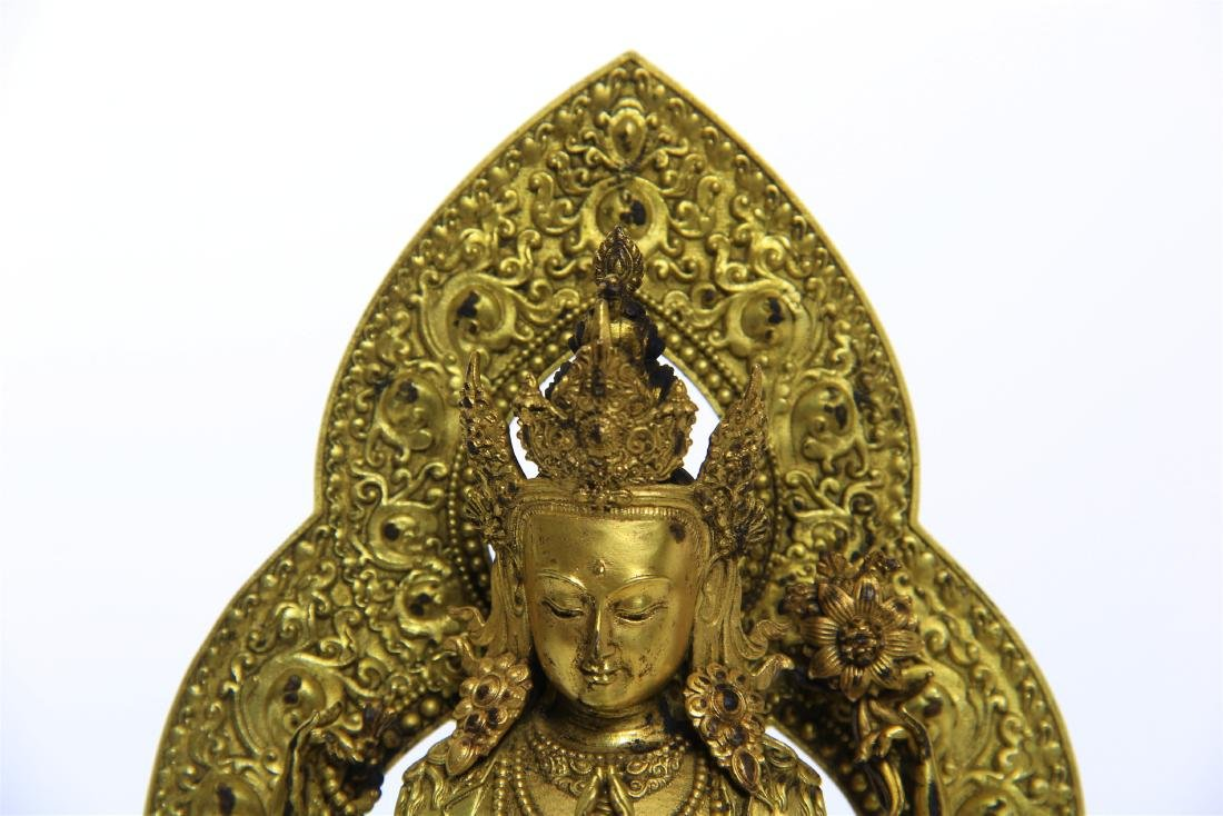 CHINESE GILT BRONZE FOUR ARM SEATED GUANYIN - 2