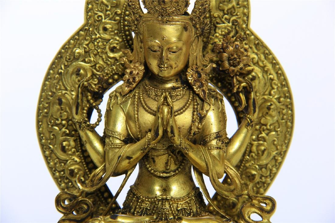 CHINESE GILT BRONZE FOUR ARM SEATED GUANYIN - 3