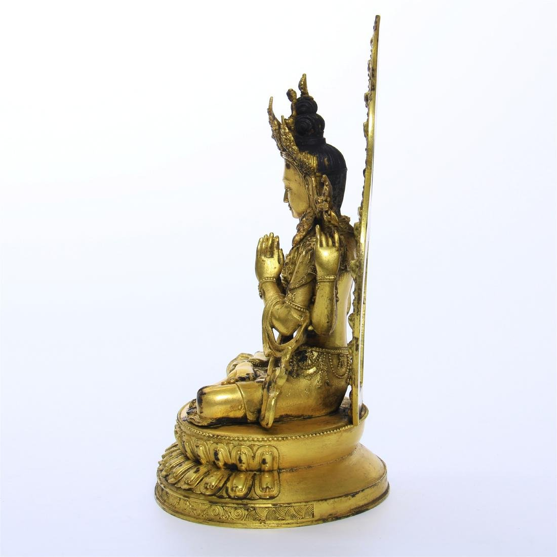CHINESE GILT BRONZE FOUR ARM SEATED GUANYIN - 5