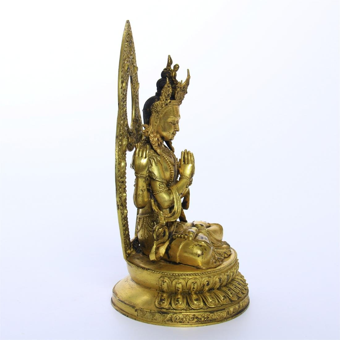 CHINESE GILT BRONZE FOUR ARM SEATED GUANYIN - 7