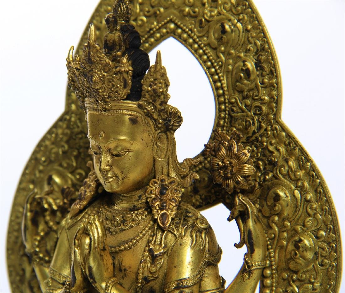 CHINESE GILT BRONZE FOUR ARM SEATED GUANYIN - 9