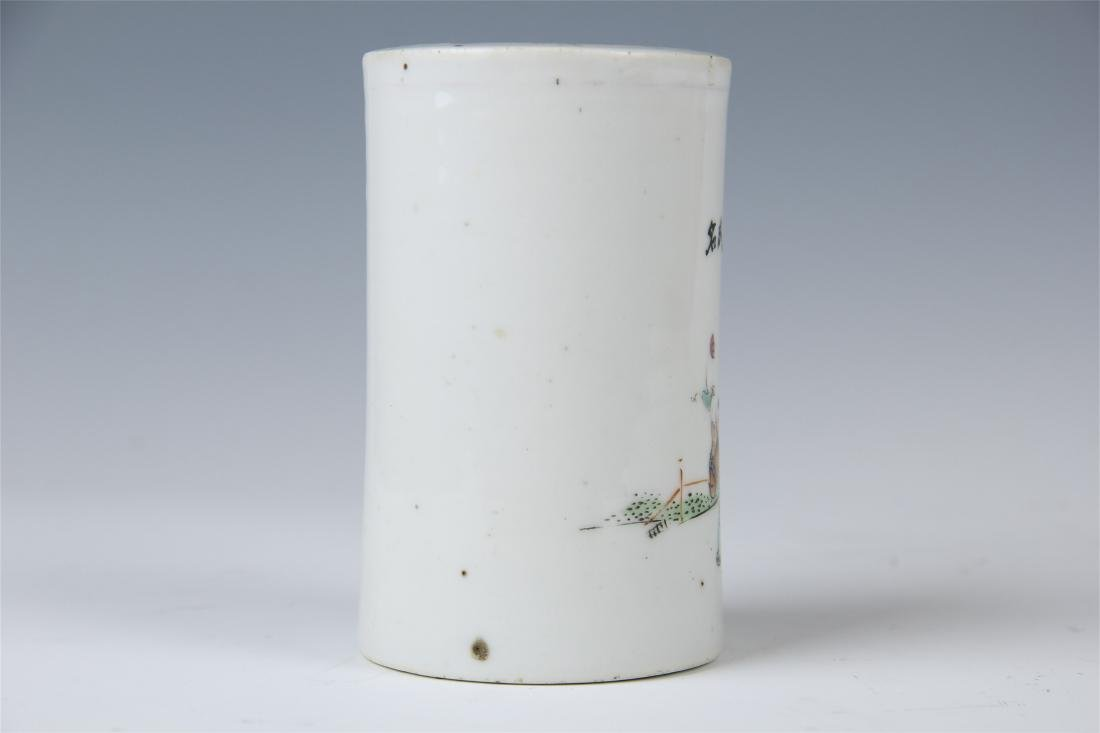 CHINESE PORCELAIN FAMILLE ROSE BRUSH POT - 2