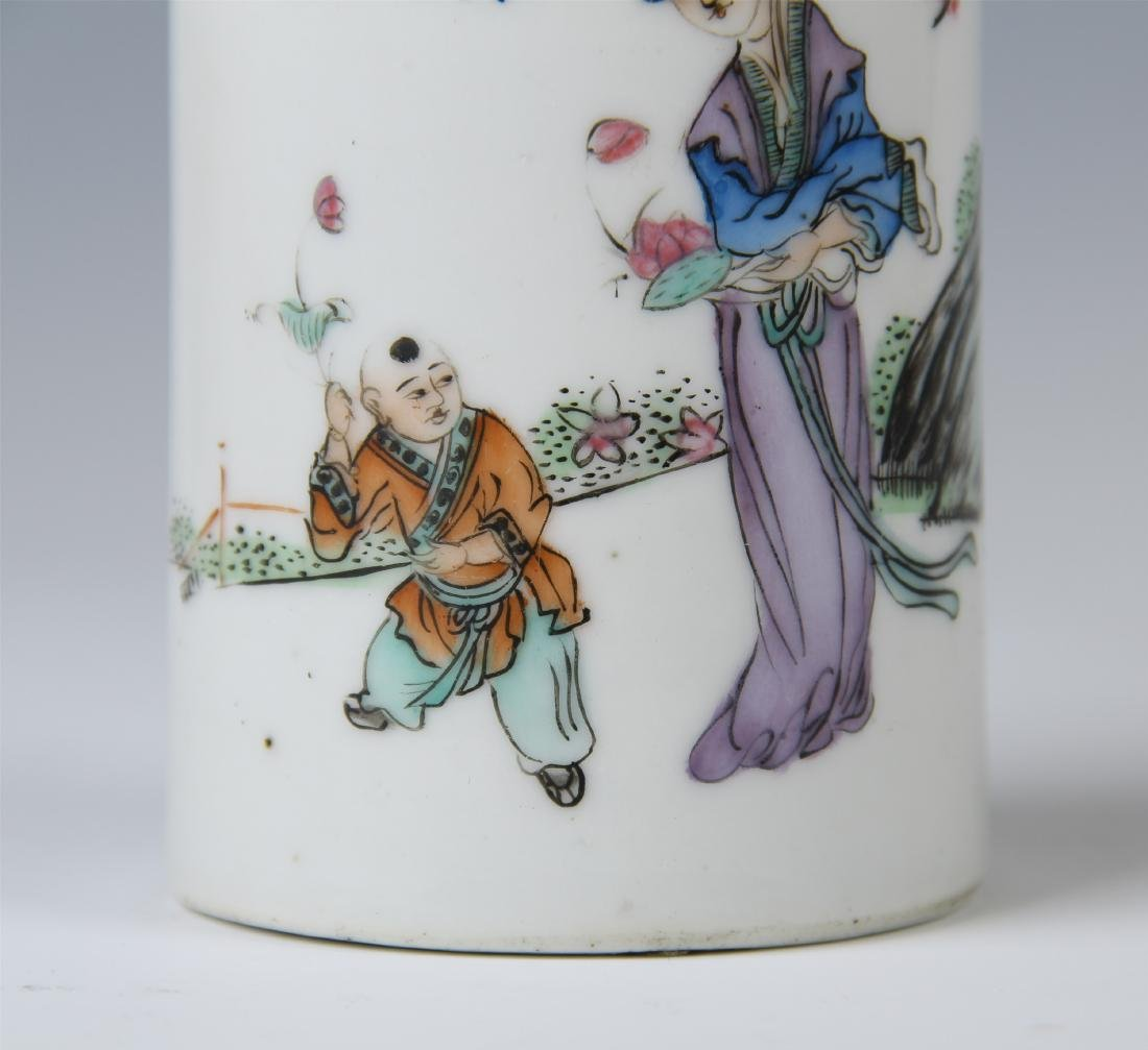 CHINESE PORCELAIN FAMILLE ROSE BRUSH POT - 5
