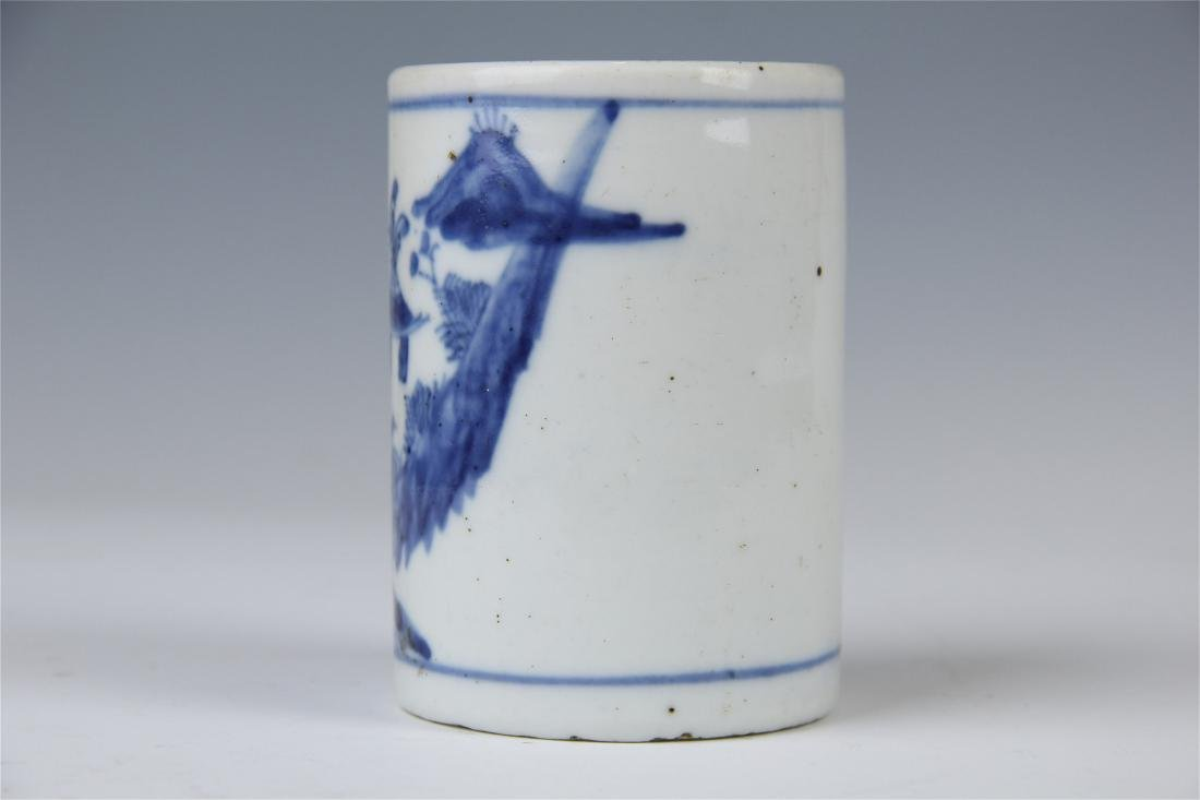 CHINESE PORCELAIN BLUE AND WHITE BRUSH POT - 3