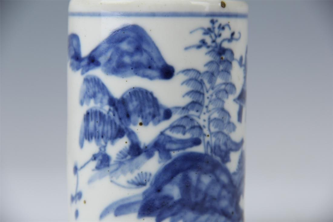 CHINESE PORCELAIN BLUE AND WHITE BRUSH POT - 6