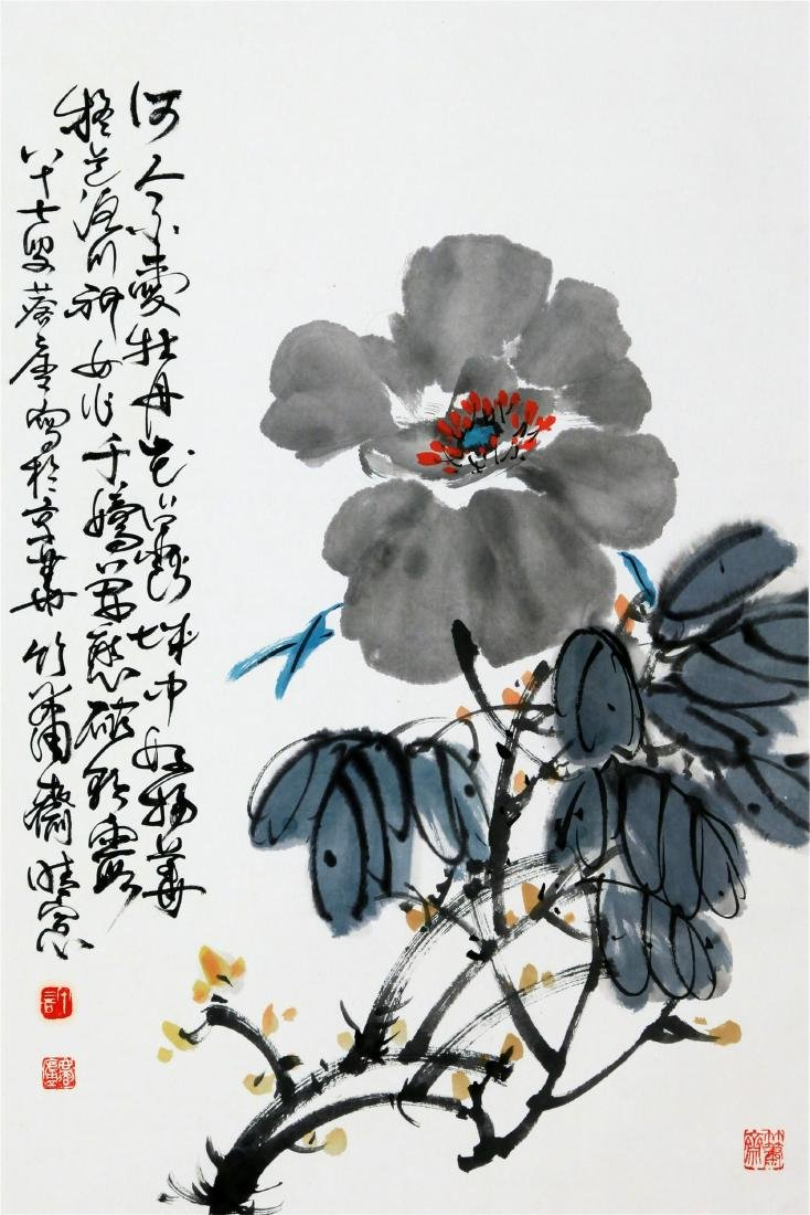 CHINESE SCROLL PAINTING OF PEONY FLOWER