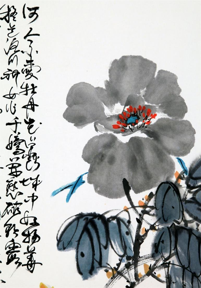 CHINESE SCROLL PAINTING OF PEONY FLOWER - 3