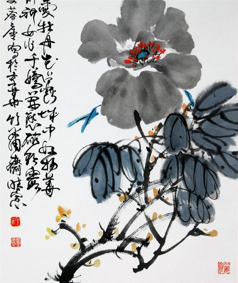CHINESE SCROLL PAINTING OF PEONY FLOWER - 4