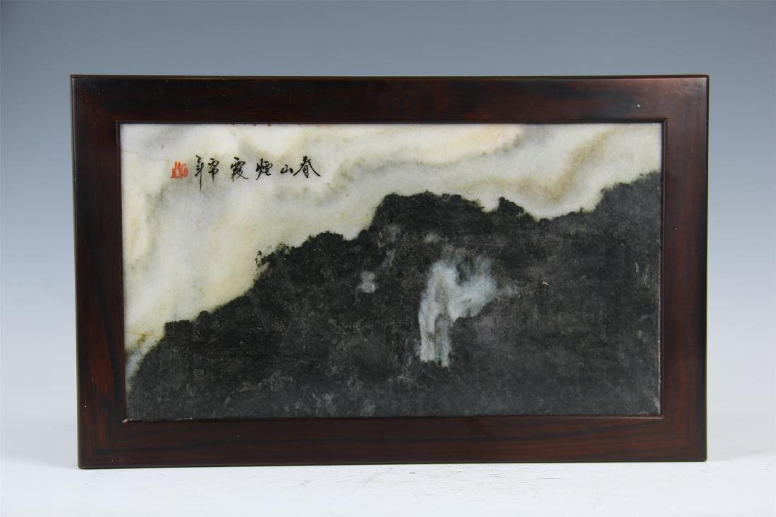 CHINESE MARBLE PLAQUE INLAID ZITAN LOW TABLE - 2