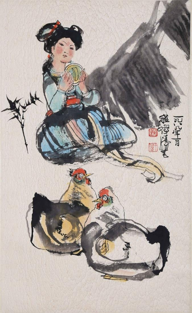 CHINESE SCROLL PAINTING OF GIRL AND CHICKEN