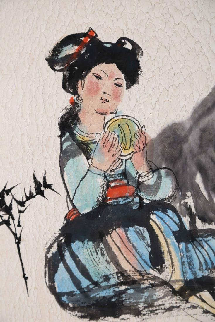 CHINESE SCROLL PAINTING OF GIRL AND CHICKEN - 2