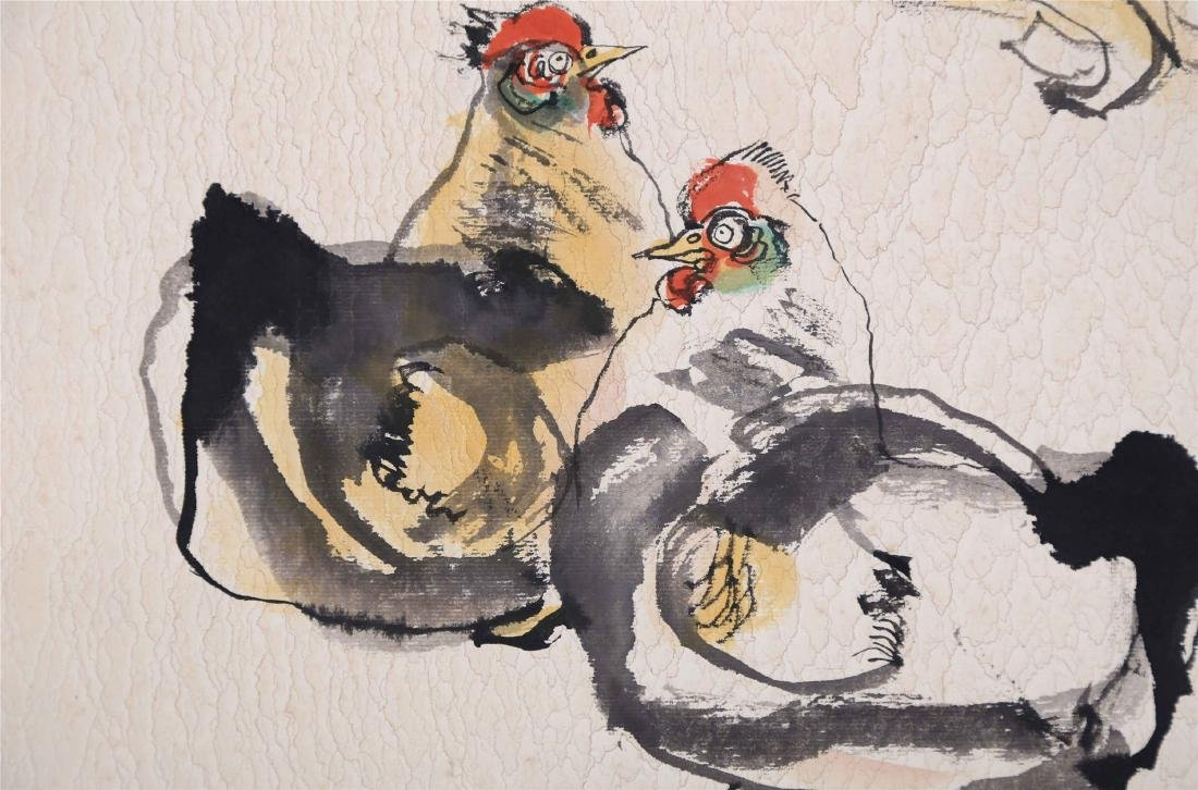 CHINESE SCROLL PAINTING OF GIRL AND CHICKEN - 3