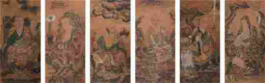 SIX CHINESE SCROLL PAINTINGS OF LOHAN