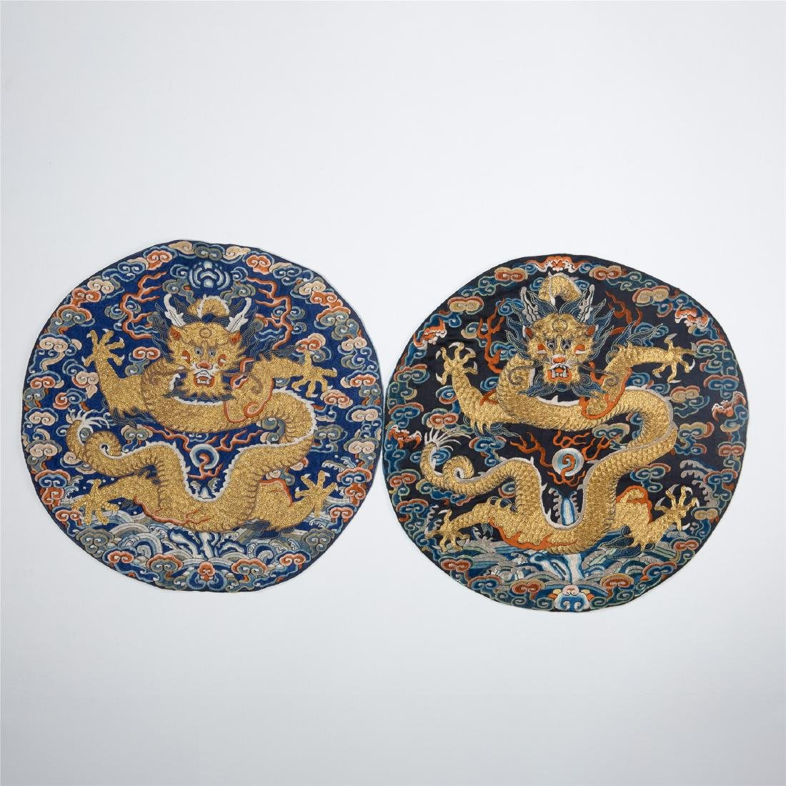 PAIR OF CHINESE EMBROIDERY DRAGON MANDERIAN OFFICIAL