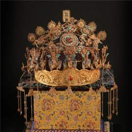 CHINESE PURE GOLD GEM STONE INLAID ENAMEL QUEEN'S CROWN