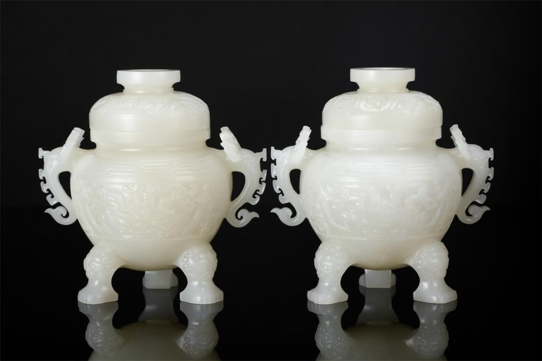 PAIR OF CHINESE WHITE JADE LIDDED TRIPLE FEET CENSER - 2