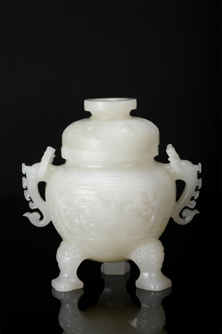 PAIR OF CHINESE WHITE JADE LIDDED TRIPLE FEET CENSER - 6