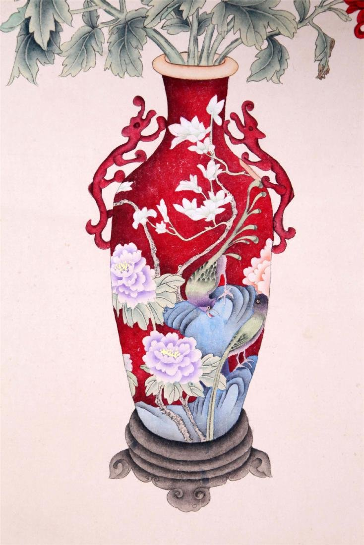 CHINESE SCROLL PAINTING OF FLOWER IN VASE - 3