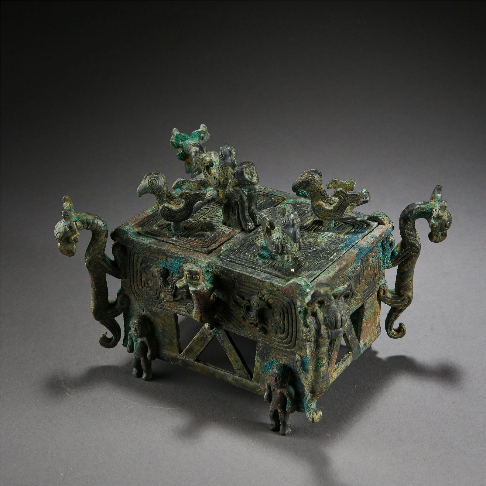 CHINESE ANCIENT BRONZE DRAGON LIDDED CENSER