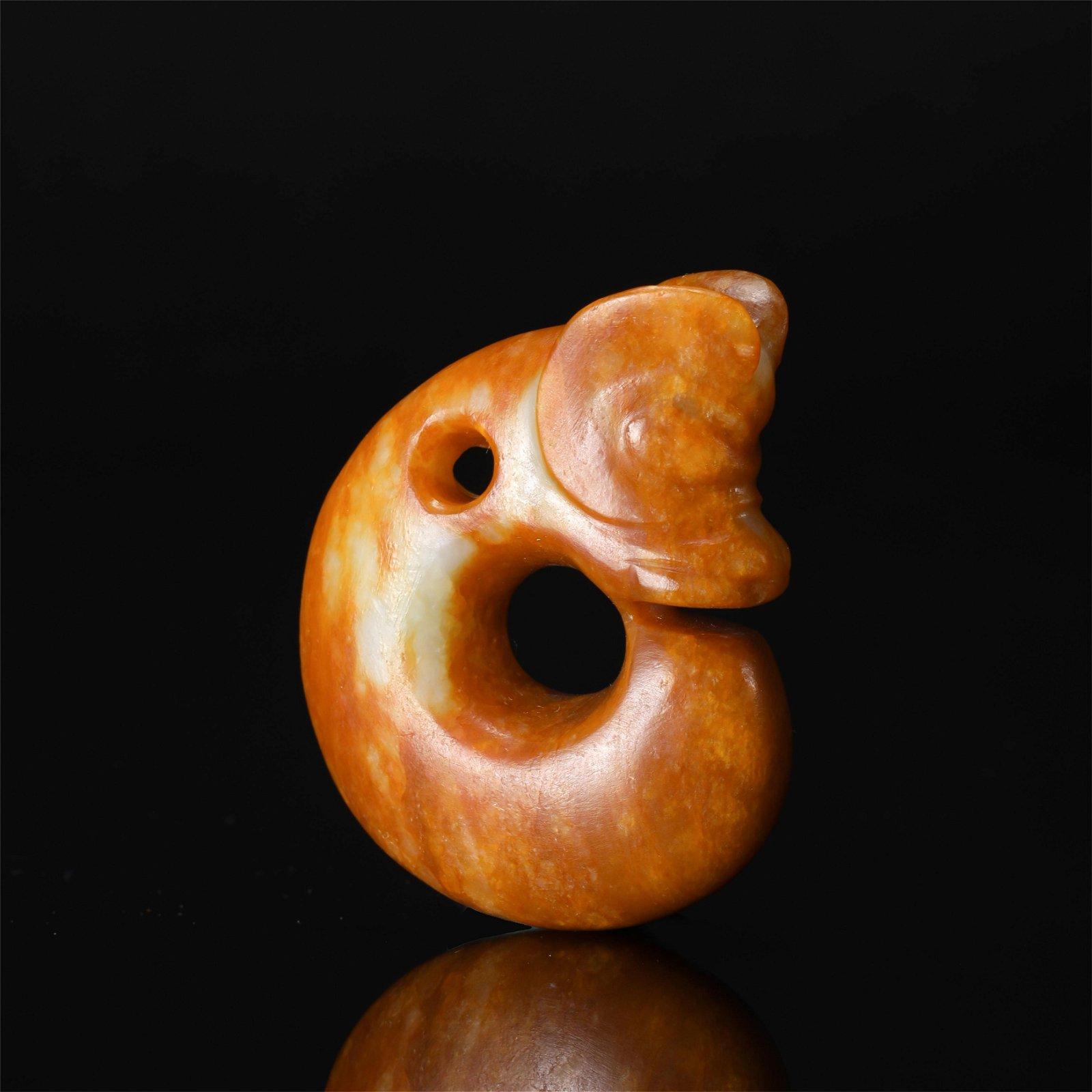 CHINESE ANCIENT JADE PIG DRAGON PENDANT