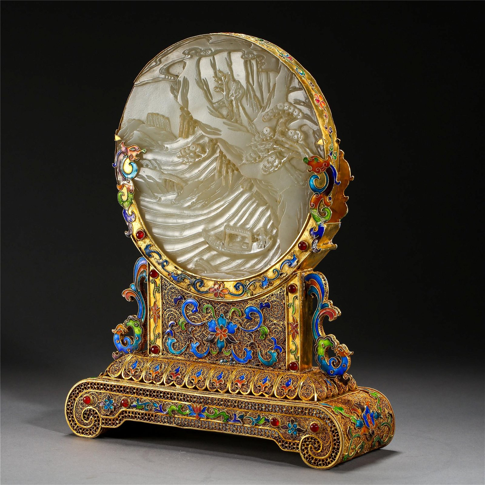 CHINESE WHITE JADE PLAQUE GILT SILVER ENAMEL TABLE