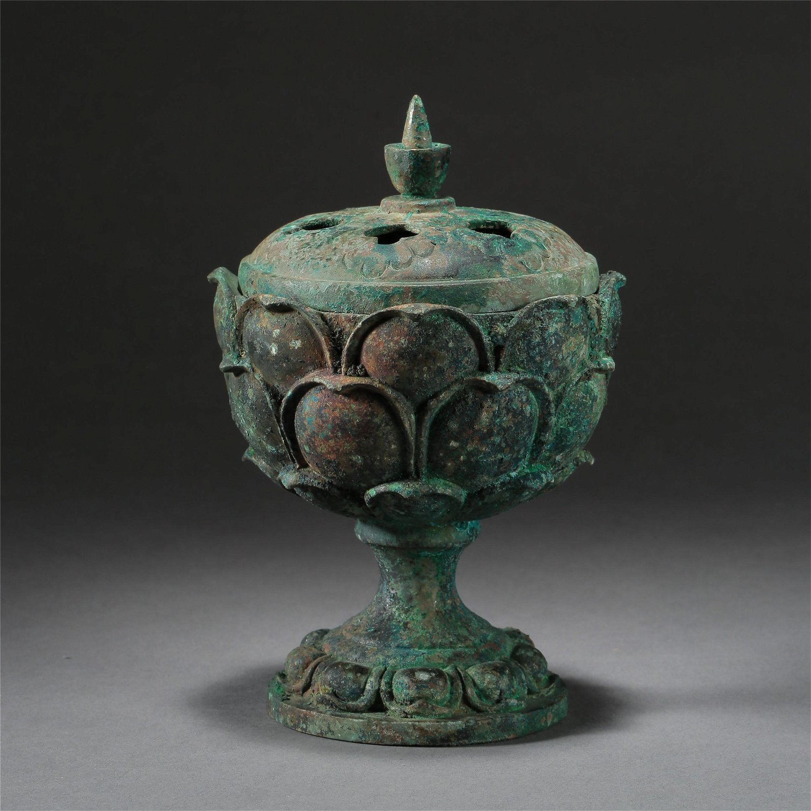 CHINESE ANCIENT BRONZE LIDDED LOTUS CENSER