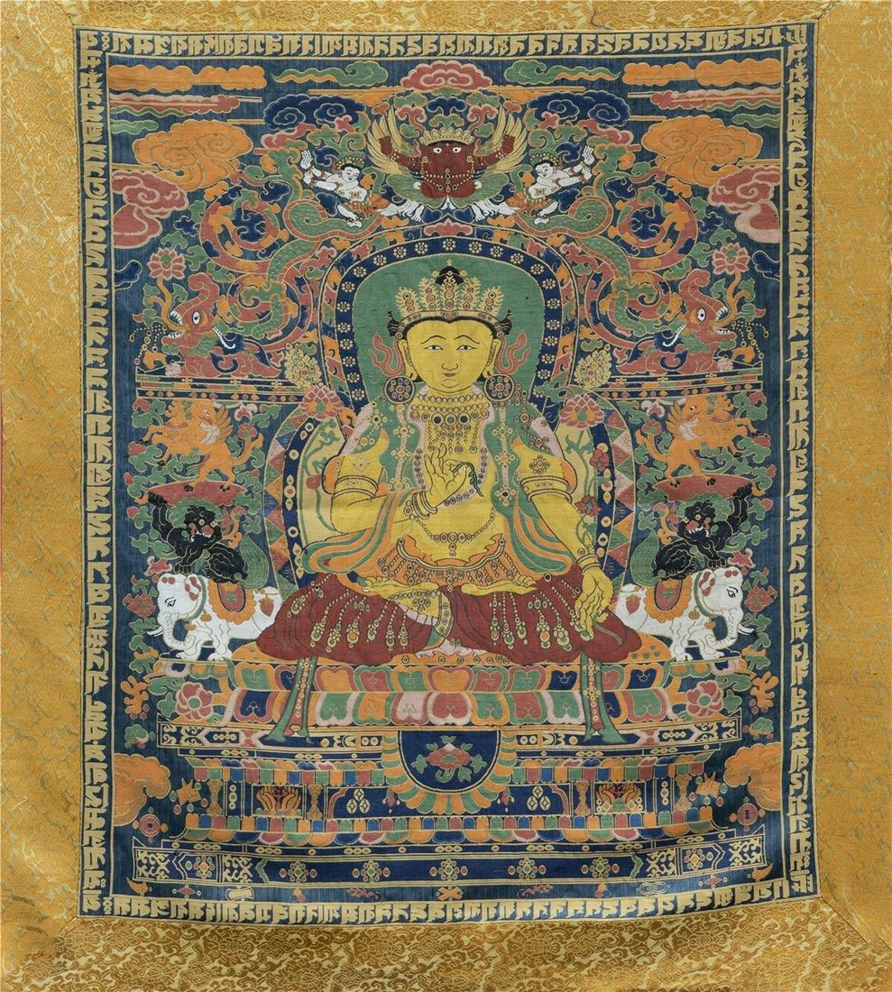 TIBETAN EMBROIDERY KESI THANGKA OF SEATED BUDDHA